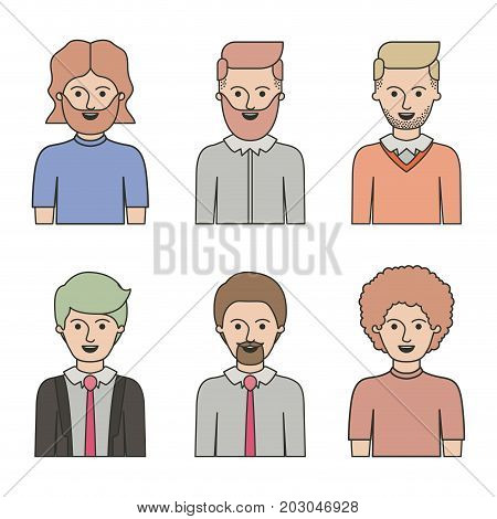 caricature half body man with differents hairstyle set on white background vector illustration