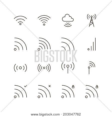 Wi-Fi icon set. Collection of wifi line icons. 16 high quality logo of internet on white background. Pack of symbols for design website, mobile app, printed material, etc.