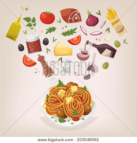 Famous dish of italian cuisine. Pasta with meatballs tomato sauce and cheese. Throw ingredients in the air and get a perfect spaghetti Bolognese on a plate. Vector illustration.