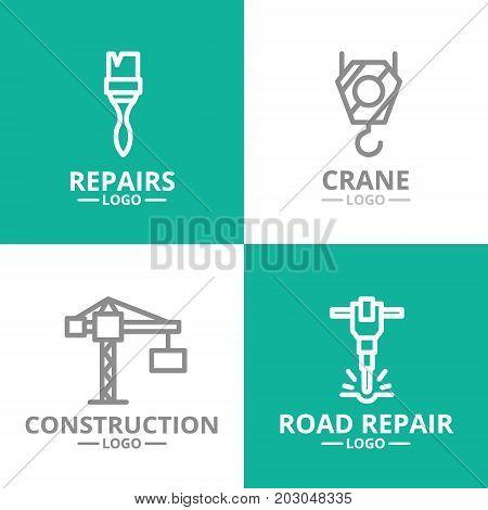 Set of construction, crane hook, paint brush, jackhammer logo or insignia, emblems, labels and badge. Vector line style