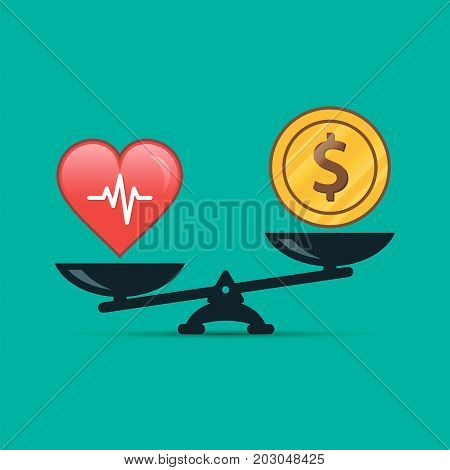 Health or money vector illustration. Heart and money on scales. Health concept.