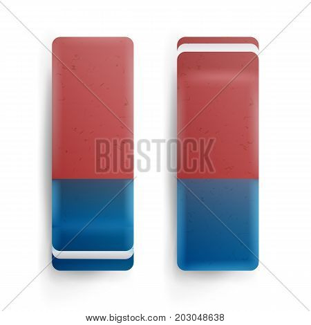 Eraser Isolated Vector. Classic Blue Orange Rubber Sign. Realistic Illustration
