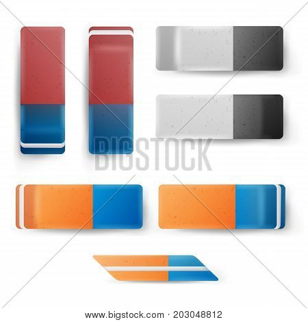 Realistic Eraser Set Vector. Classic Blue Orange, Grey White Rubber Icon