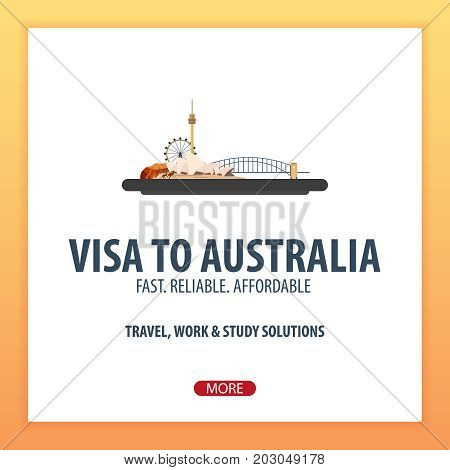 Visa To Australia. Travel To Australia. Document For Travel. Vector Flat Illustration.