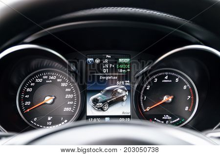 Minsk Belarus - August 26 2017: Dashboard of Mercedes-Benz GLC 350 e Plug-In Hybrid close up.