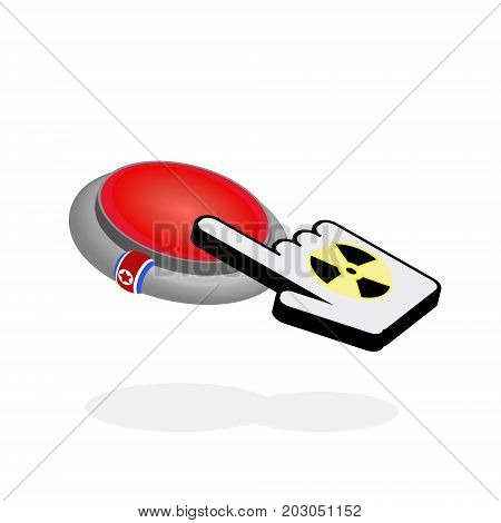 North Korea's red nuclear button. Nuclear weapons and the threat concept.
