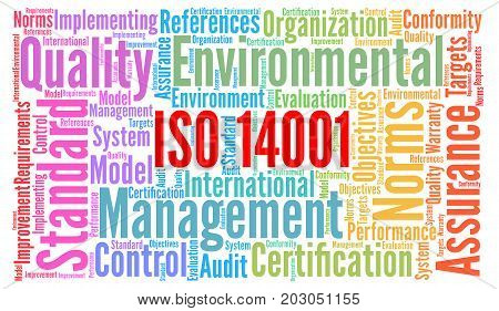 ISO 14001 certification word cloud concept illustration
