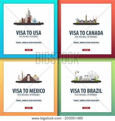 Visa To Usa, Canada, Mexico, Brazil. Document For Travel. Visa Application Centre.
