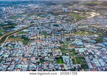 Aerial view of Ho Chi Minh city, Vietnam. Beauty skyscrapers along river light smooth down urban development in Ho Chi Minh City, Vietnam. High, Best royalty free stock image,  high resolution
