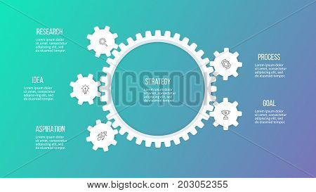 Business hierarchy infographic. Organization chart with 5 options, gears. Vector template.