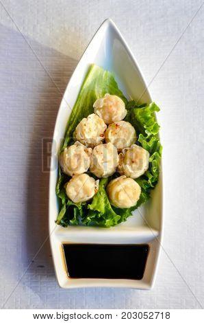 Shrimp Shumai, Steamed or deep fried shrimp shumai dumpling