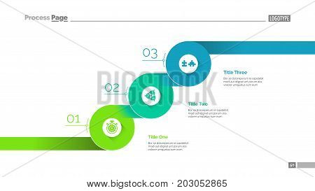 Three progressive steps slide template. Business data. Graph, diagram, design. Creative concept for infographic, report. Can be used for topics like efficiency, timeline, development