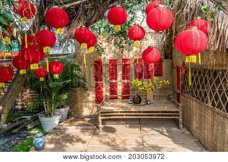 Decoration item for Lunar new year with text