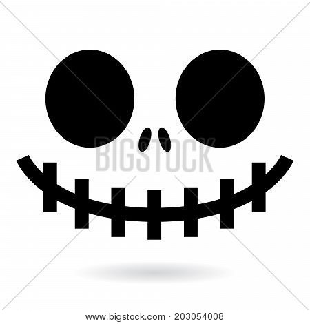 Scary Halloween ghost or pumpkin face vector design, monster mouth icon with spooky eyes, nose and big teeth