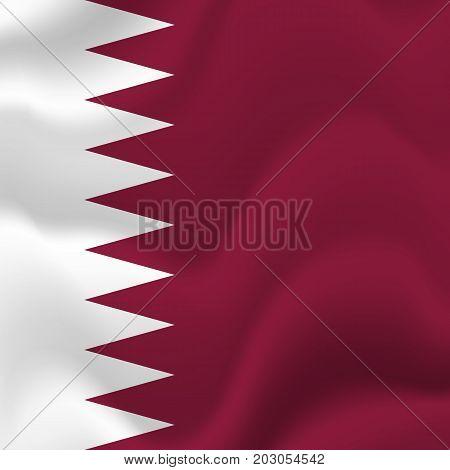 Qatar waving flag. Waving flag. Vector illustration.