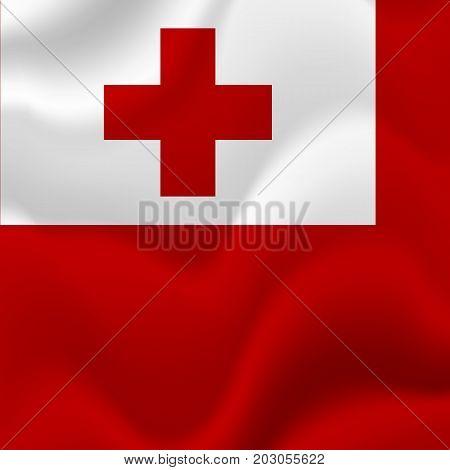 Tonga waving flag. Waving flag. Vector illustration.