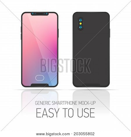 3d flat illustration Smartphone. Face view. Mockup generic phone. New frameless black template for infographics or presentation UI design. Concept phone without buttons with fingerprint scanner
