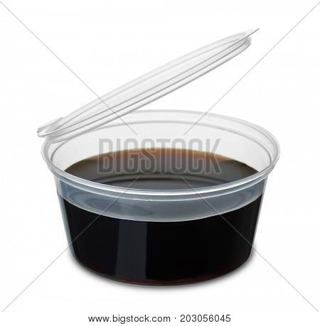Disposable dipping cup of soy sauce isolated on white