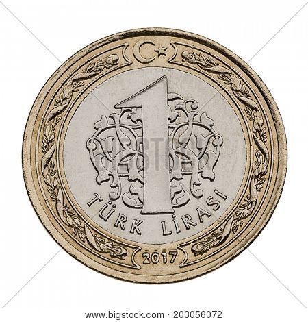 Turkish coin currency one lira made of 8,20 gram nickel and copper zinc alloy isolated.
