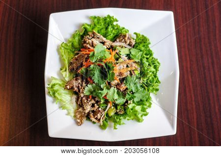Nam Tok Spicy Beef Salad, Char-broiled tender slices of beef mixed with red onion, green onions, roasted rice, cilantro, chili powder & citrus leaves