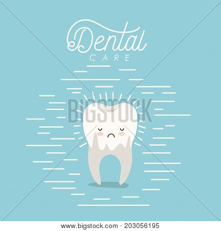 kawaii caricature dental caries in the root tooth dental care with sad expression on color poster with lines vector illustration