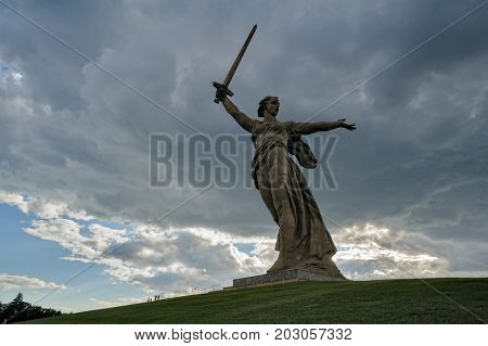 Volgograd, Russia - July 10, 2017: Motherland Calls monument. Memorial complex Mamayev Kurgan. Total height of sculpture together with sword -85 metres.Total weight of construction - 8 thousand tons