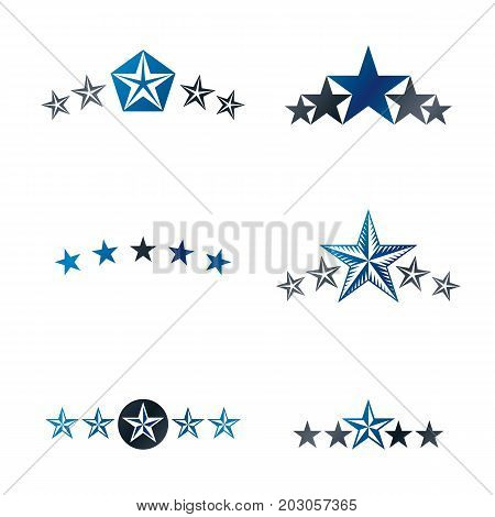Royal Stars emblems elements set. Heraldic Coat of Arms decorative logo isolated vector illustrations collection.