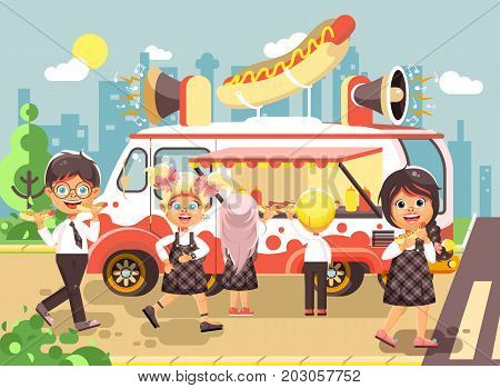 Stock vector illustration cartoon characters children, pupils, schoolboys and schoolgirls buy fast food, sandwiches, hot dogs, sausage from car, meals on wheels, street food, school snack flat style