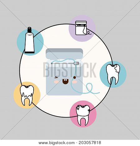dental floss box kawaii with happiness expression with circular frame icons dental care on gray background vector illustration