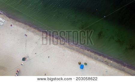 aerial view of Black sea beach