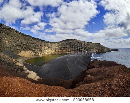Green Lagoon at El Golfo Lanzarote Island Spain