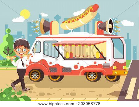Stock vector illustration cartoon character child, pupil, lonely brunette boy schoolboy eat fast food, sandwiches, hot dog, sausage from car, meals on wheels, city street food, school snack flat style