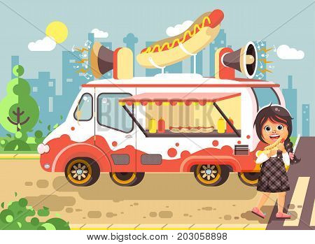 Stock vector illustration cartoon character child, pupil lonely brunette girl schoolboy eat fast food, sandwiches, hot dog, sausage from car, meals on wheels, city street food, school snack flat style