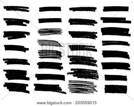 Vector Set Of Grunge Brush Strokes. Highlighter Brush Lines.