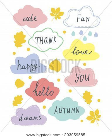 Autumn sale and discounts banners set for the card of shop. Vector graphic illustration