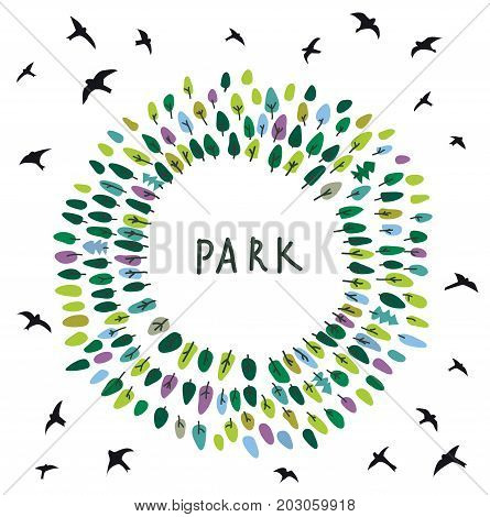 Park emblem on the card with trees and birds vector graphic illustration