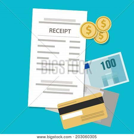 receipt printed paper shopping price retail money cash and coin vector
