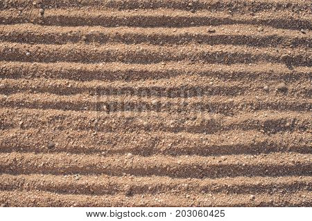 sand texture with shallow seashells, sea sand, lines on the sand