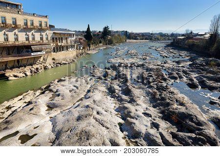 Kutaisi, Georgia - November 22, 2016: Majestic Rioni River Flowing Through Kutaisi Town In Georgia