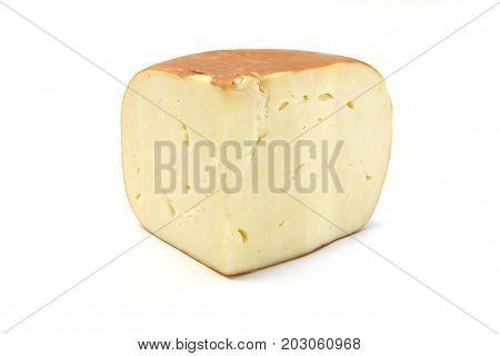 Smoked sulguni cheese on a white background