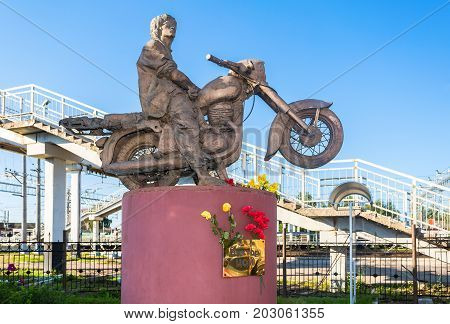 Okulovka Russia - August 17 2017: Monument to the famous Russian singer Victor Tsoi. Victor Tsoi (1962-1990) was a Soviet musician songwriter and leader of the band Kino