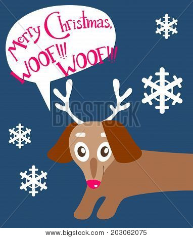 Christas vector flat card with the cute puppy. New year holiday atmosphere, winter symbol. Dog dachshund with deer Rudolph horns and red nose, felicitation in the bubble