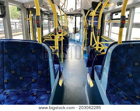 LONDON - SEPTEMBER 4, 2017: Transport for London (TfL) Public bus interior in London, UK.