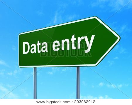 Information concept: Data Entry on green road highway sign, clear blue sky background, 3D rendering