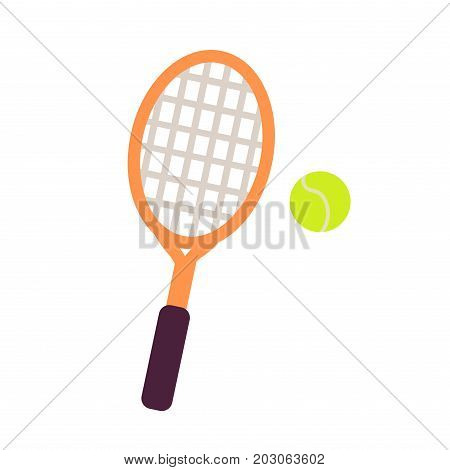 Wooden racket with mesh and tennis green ball close-up graphic art icon. Vector illustration of outdoors game isolated on white. Hand drawn pattern for infographics, websites, app in cartoon style.
