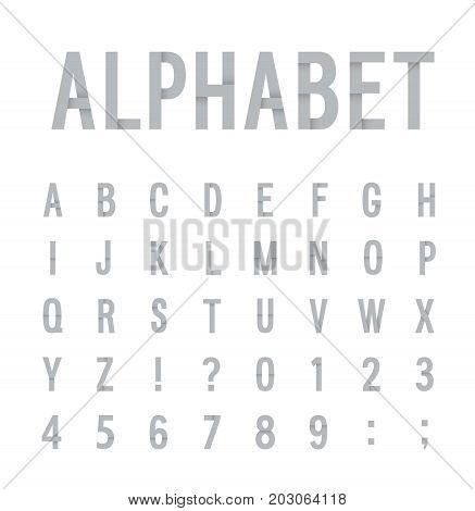 Creative paper flat fun alphabet. Vector illustration.