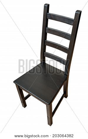 One black wooden chair isolated on a white background the path of selection is saved.