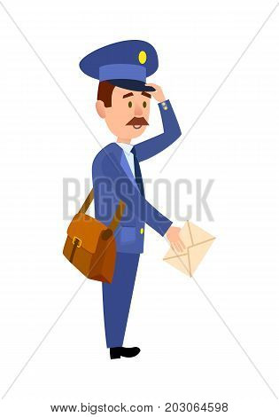 Postman cartoon character in blue uniform delivering letter flat vector illustration isolated on white background. Mailman with mailbag holding paper envelope. Mustached postal courier with mail icon