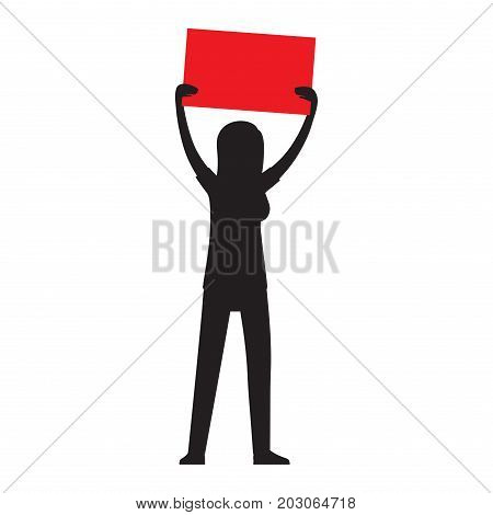 Protesting woman silhouette with billboard in raised hands isolated on white. Vector illustration of striking girl, female icon at demonstrator, unemployment concept, anonymous demonstrator