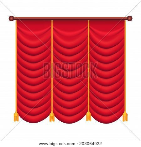 Red curtains vector illustration. Silk theatre curtain icon isolated on white background. Luxury scarlet curtains and draperies. Theatre, banquet and concert hall decorations in flat style design